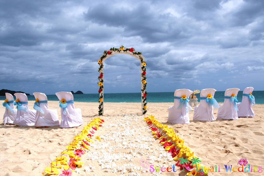 classic white wedding arch