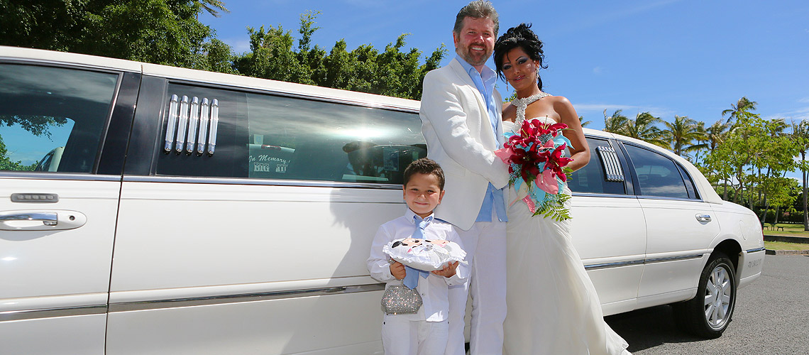 Couple at Hawaii Wedding with Limo
