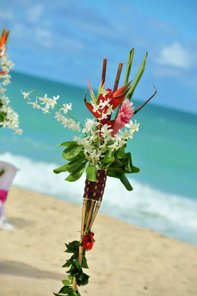 Tropical Flower Decorated Tiki Torches