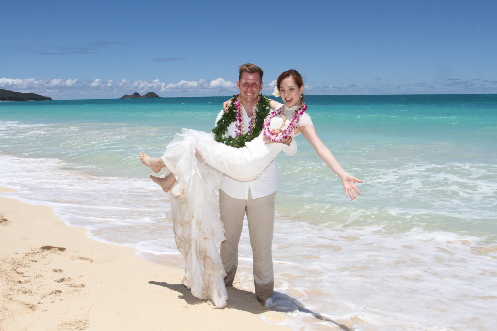 international korea america hawaii beach wedding