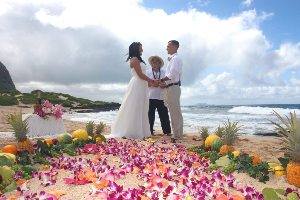 Hawaii Beach Wedding Flower Pathway