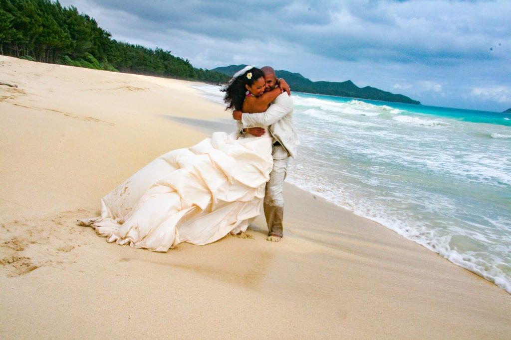 couple celebrate hawaii wedding waimanalo bay oahu