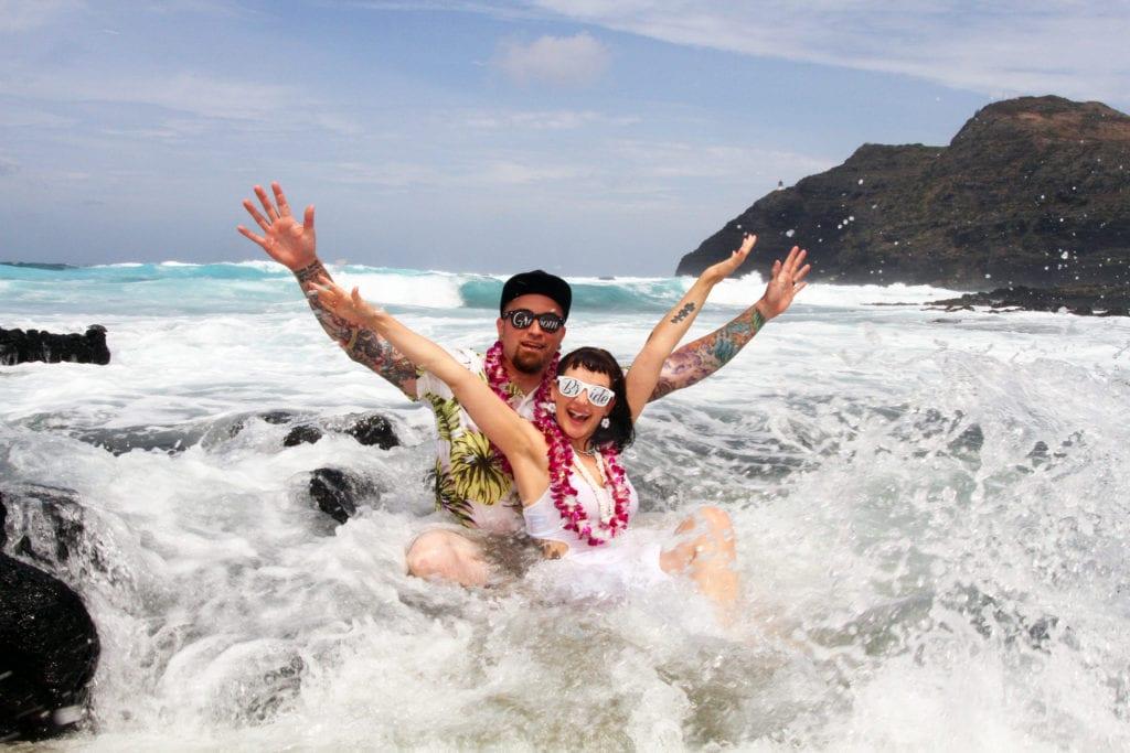 barefoot delight playful makapuu beach wedding
