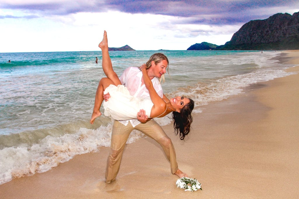 playful hawaii beach wedding